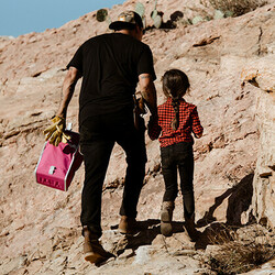 Miguel Vidal carrying his YETI Daytrip Lunch Bag in Prickly Pear Pink